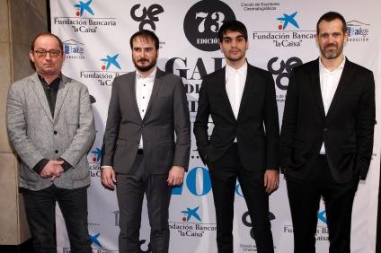 El músico Pascal Gainge, el director Aitor Arregi, el actor Eneko Sagardoy y el guionista José María Goenaga, de Handia.